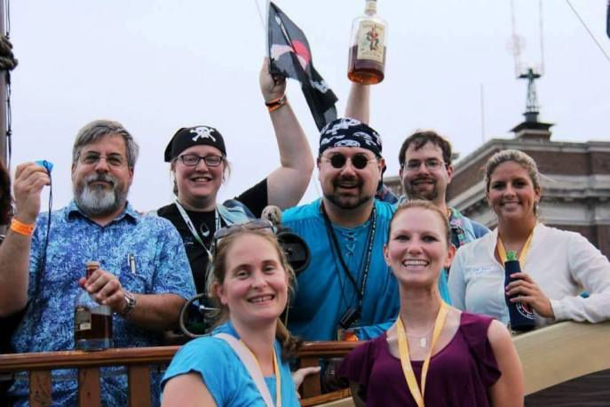 Pirate social held jointly with SCBMarine and the Oceania Sections from the 2013 ICCB in Baltimore, Maryland, US. Picture are SCBMarine President John Cigliano, Past-President Chris Parsons, President-Elect Samantha Oester and members Katheryn Patterson, David Shiffman and Christine Gleason., as well as Oceania Past-President Carolyn Lundquist.