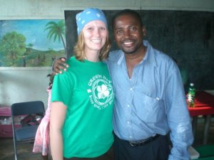 Samantha Oester with Dr. Eugene Maklin, a medical doctor in Cap-Haïtien, Haiti, concerned about preventing waterborne infectious diseases. Oester will be presenting at ICCB ECCB 2015 on a watershed approach to marine conservation in Haiti, improving the health of the humans, the environment and wildlife.